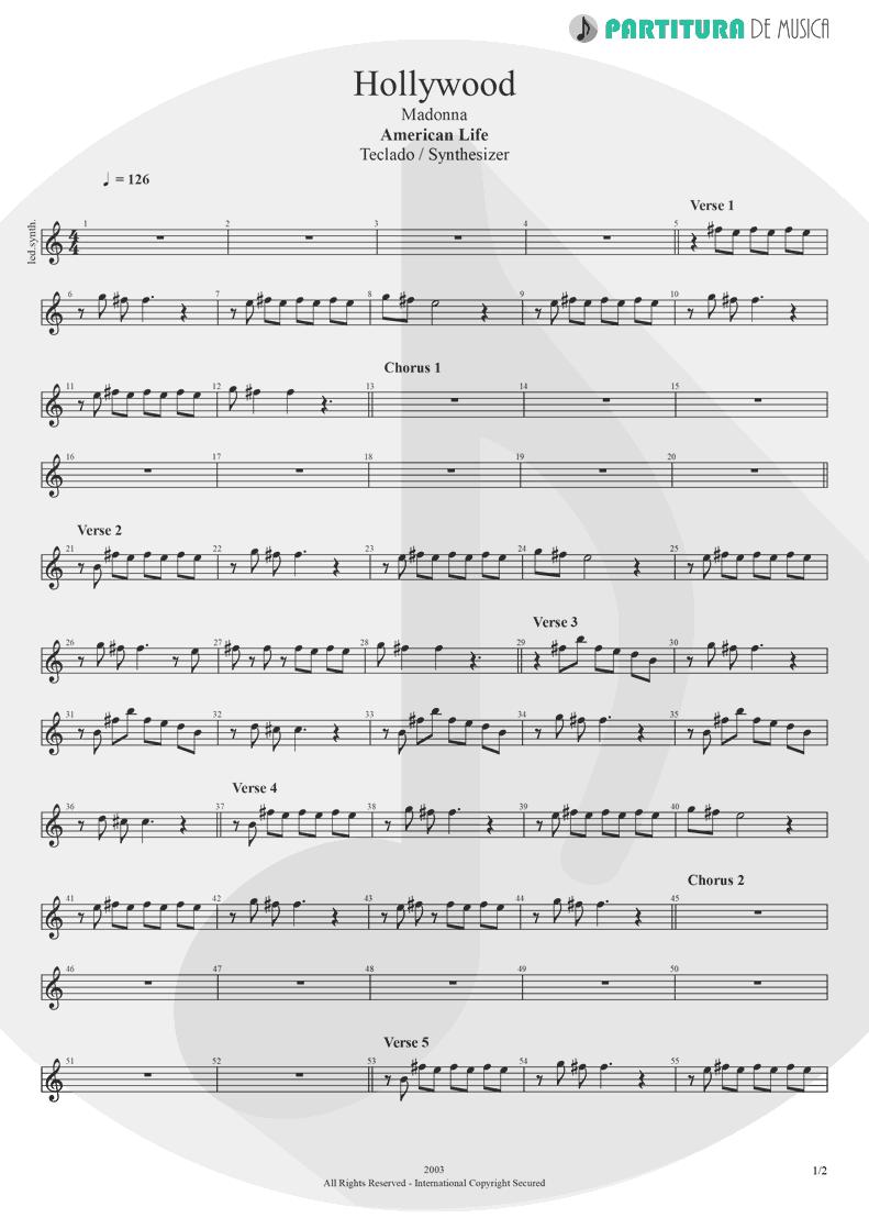 Partitura de musica de Teclado - Hollywood | Madonna | American Life 2003 - pag 1