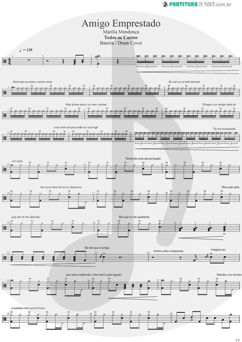 Partitura de musica de Bateria - Amigo Emprestado | Marília Mendonça | Todos os Cantos 2019 - pag 1