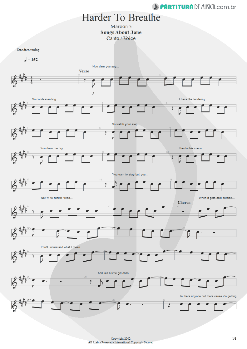 Partitura de musica de Canto - Harder To Breathe | Maroon 5 | Songs About Jane 2002 - pag 1