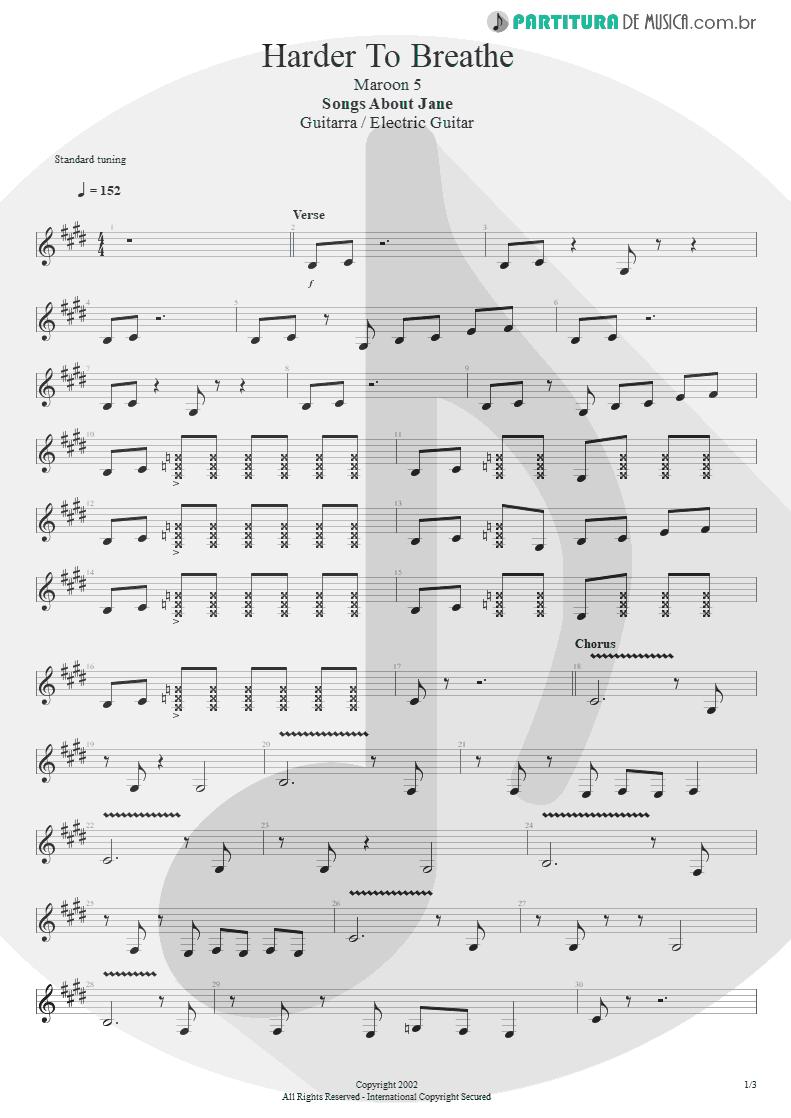 Partitura de musica de Guitarra Elétrica - Harder To Breathe   Maroon 5   Songs About Jane 2002 - pag 1