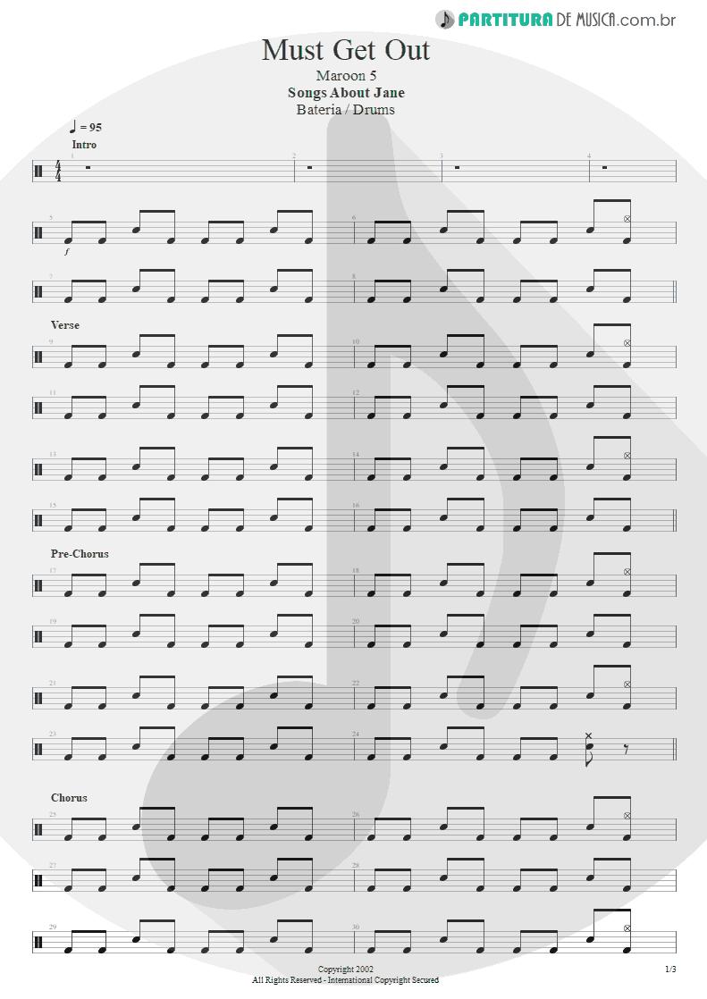 Partitura de musica de Bateria - Must Get Out | Maroon 5 | Songs About Jane 2002 - pag 1