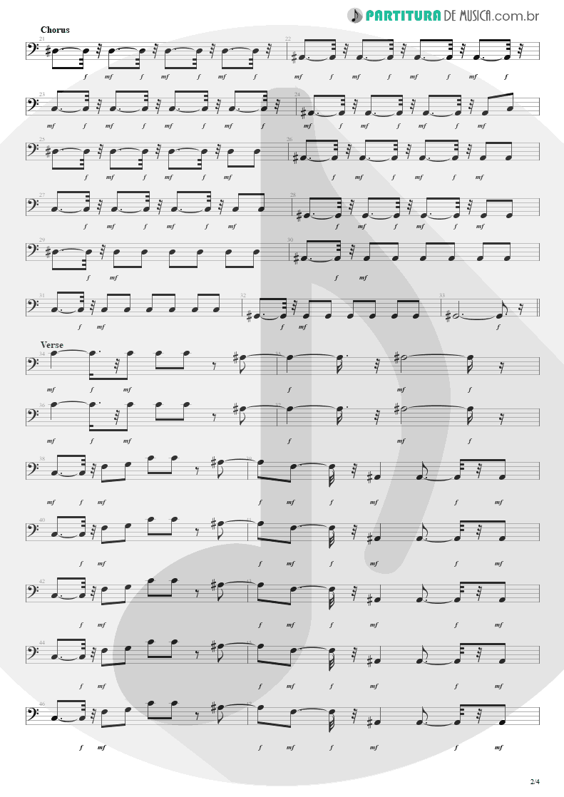 Partitura de musica de Baixo Elétrico - She Will Be Loved | Maroon 5 | Songs About Jane 2002 - pag 2