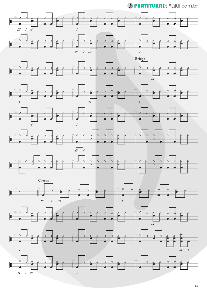 Partitura de musica de Bateria - She Will Be Loved | Maroon 5 | Songs About Jane 2002 - pag 3