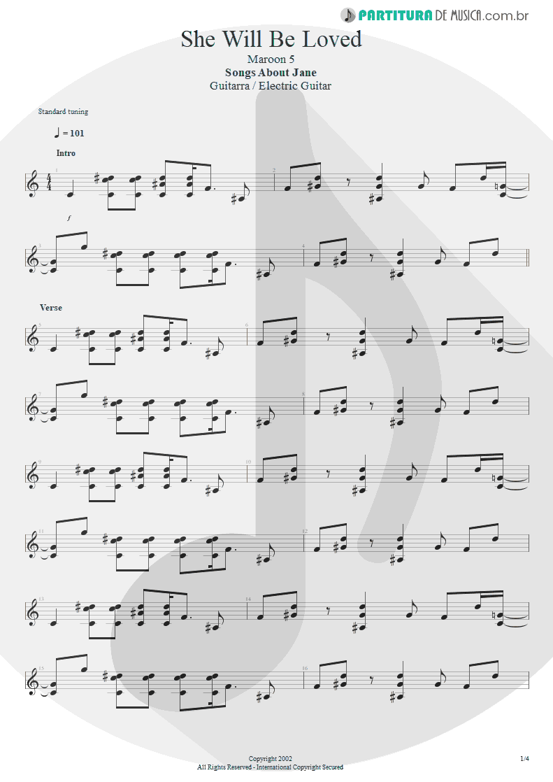 Partitura de musica de Guitarra Elétrica - She Will Be Loved | Maroon 5 | Songs About Jane 2002 - pag 1