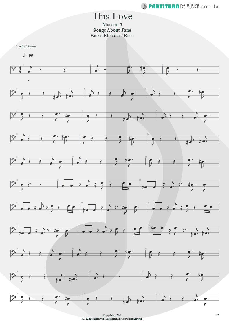 Partitura de musica de Baixo Elétrico - This Love   Maroon 5   Songs About Jane 2002 - pag 1