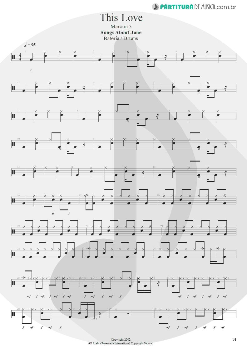 Partitura de musica de Bateria - This Love   Maroon 5   Songs About Jane 2002 - pag 1