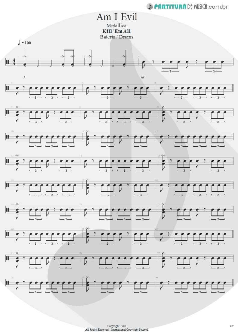 Partitura de musica de Bateria - Am I Evil? | Metallica | Kill 'Em All 1983 - pag 1