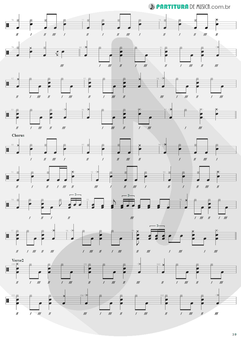Partitura de musica de Bateria - Am I Evil? | Metallica | Kill 'Em All 1983 - pag 3