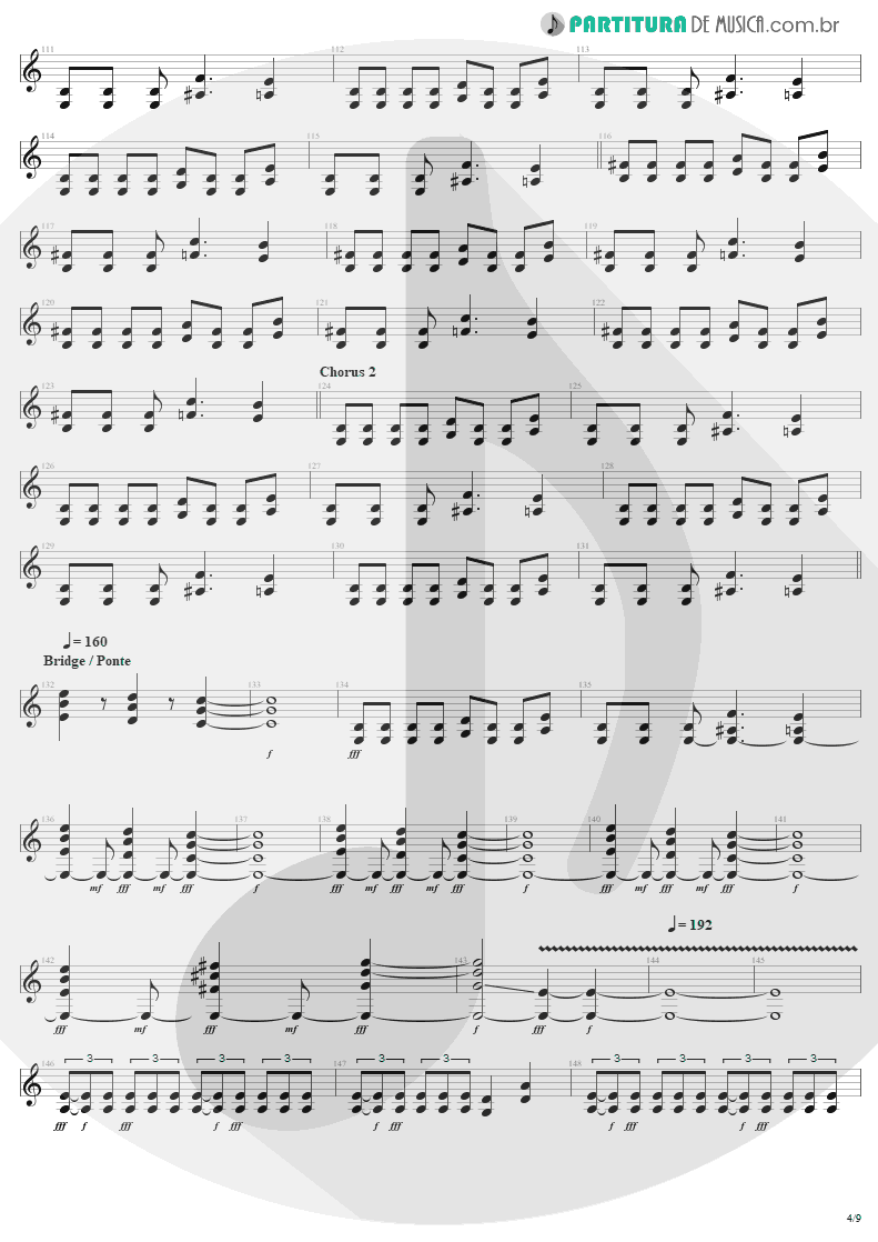 Partitura de musica de Guitarra Elétrica - Am I Evil? | Metallica | Kill 'Em All 1983 - pag 4