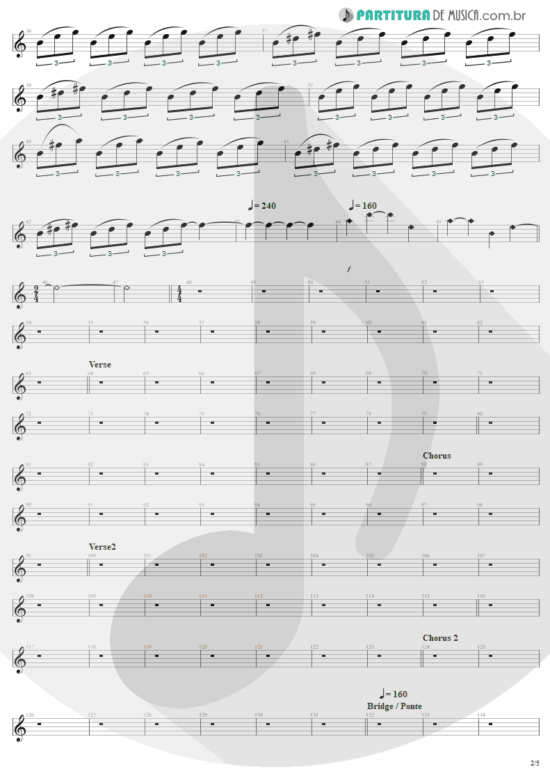 Partitura de musica de Guitarra Elétrica - Am I Evil? | Metallica | Kill 'Em All 1983 - pag 2