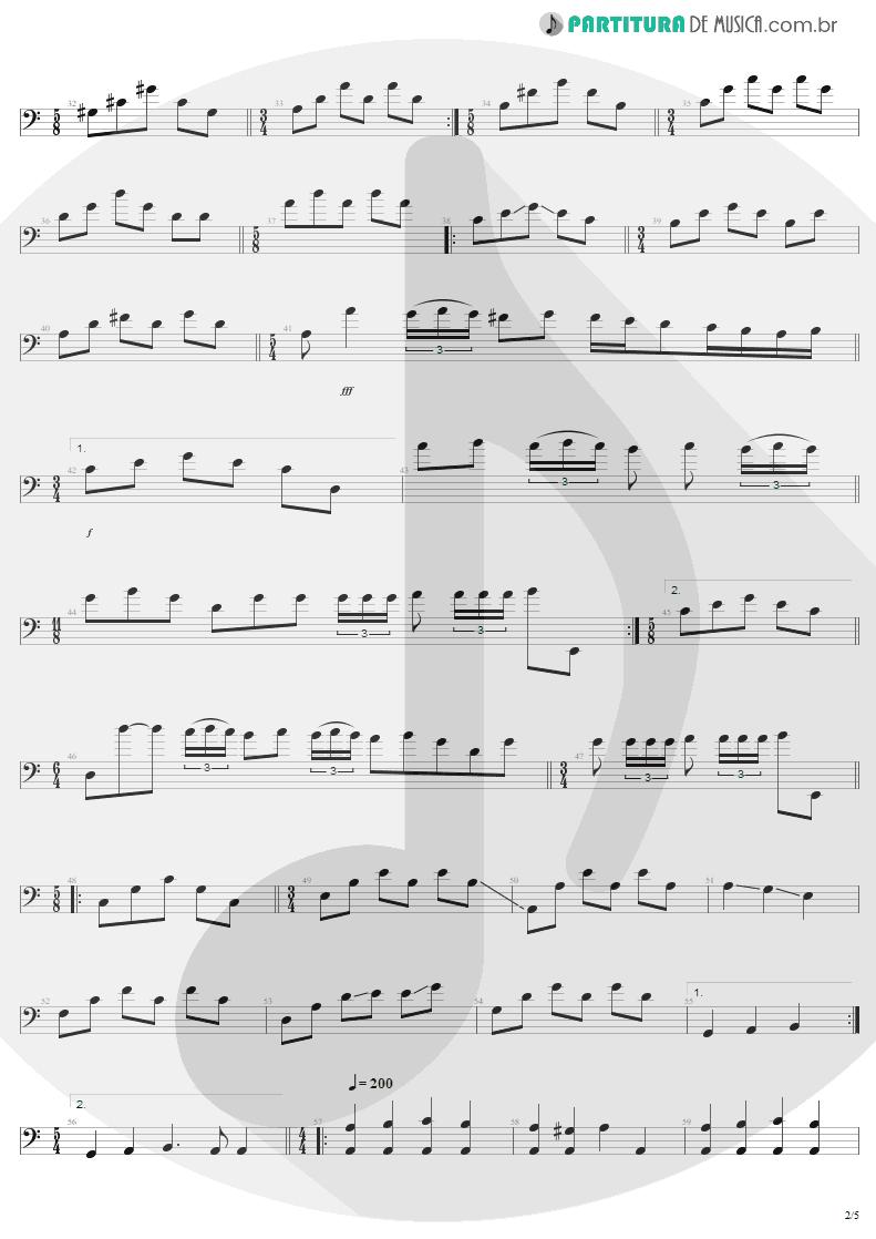 Partitura de musica de Baixo Elétrico - Anesthesia | Metallica | Kill 'Em All 1983 - pag 2