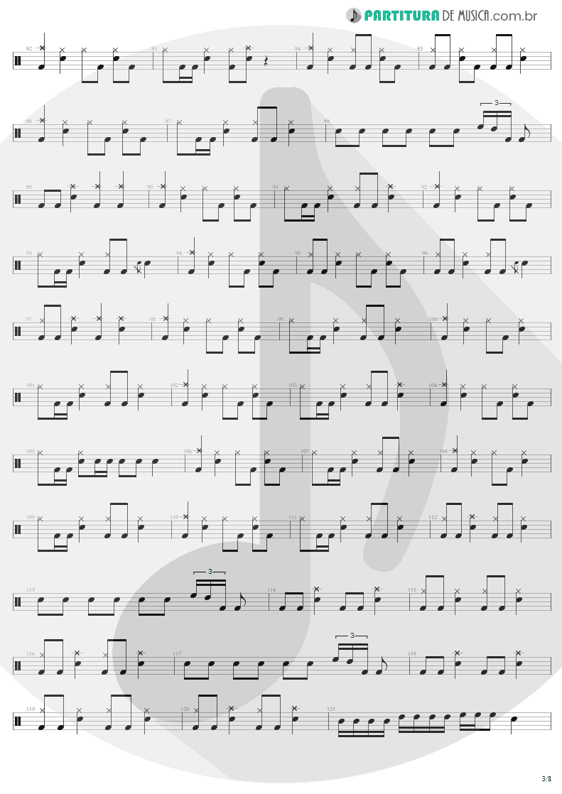 Partitura de musica de Bateria - Creeping Death | Metallica | Ride the Lightning 1984 - pag 3