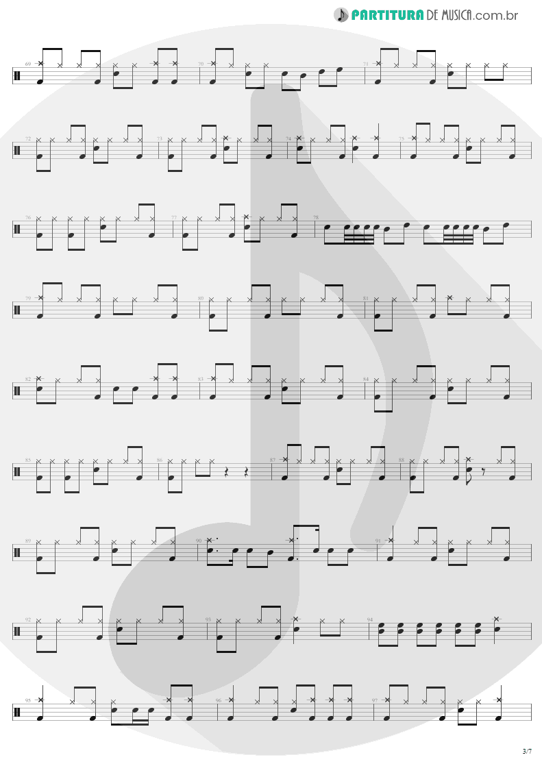 Partitura de musica de Bateria - Fade To Black | Metallica | Ride the Lightning 1984 - pag 3