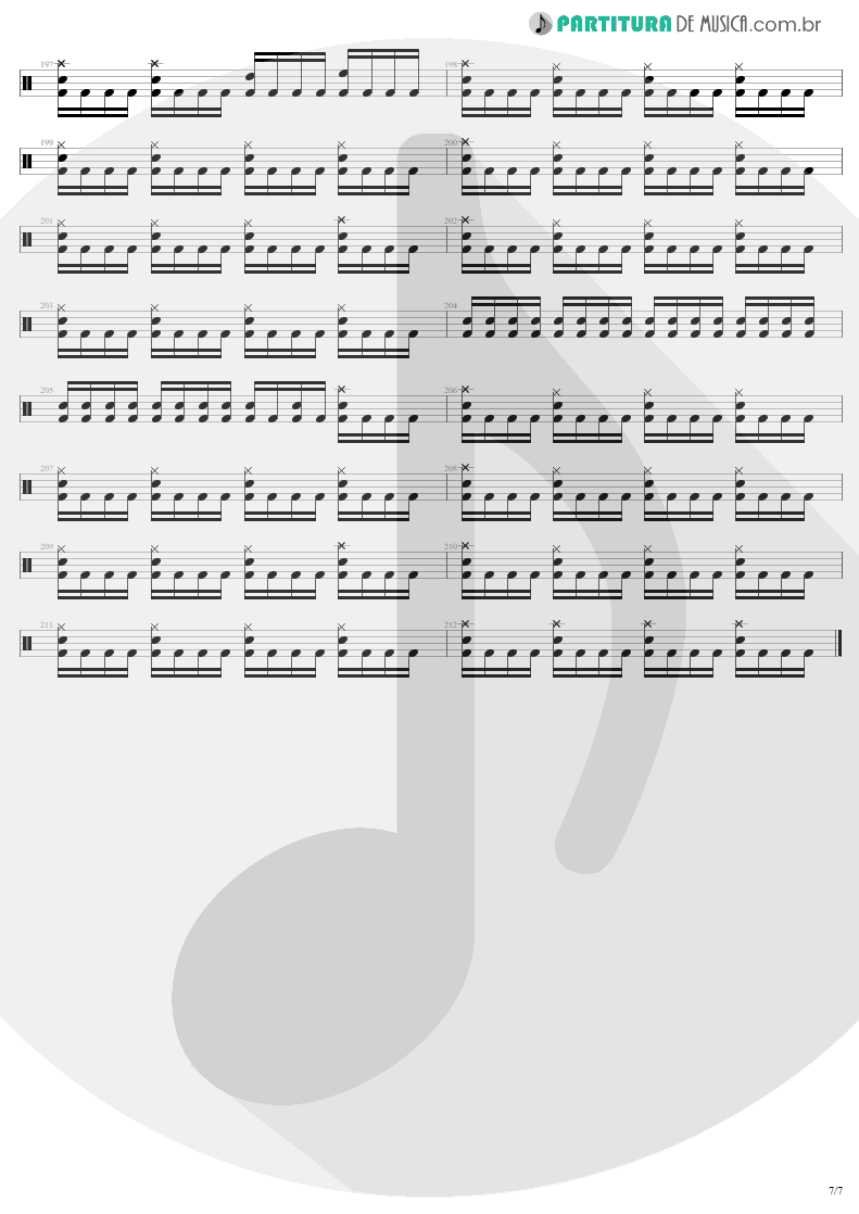 Partitura de musica de Bateria - Fade To Black | Metallica | Ride the Lightning 1984 - pag 7