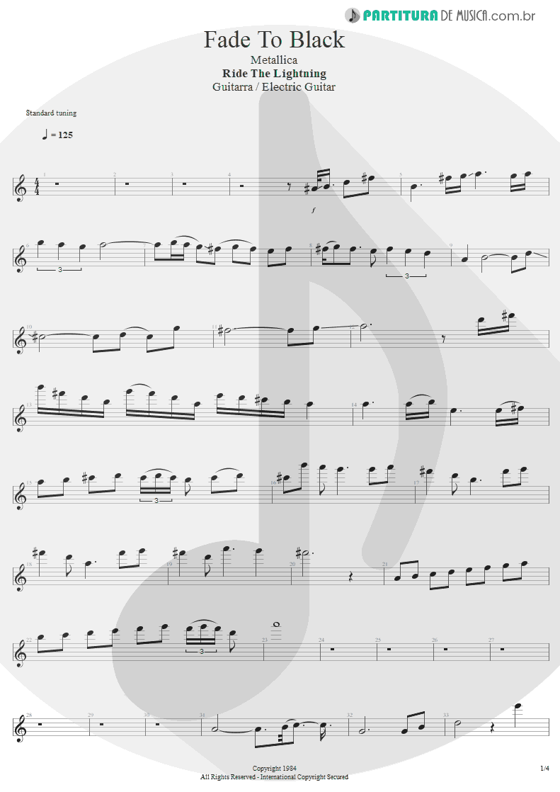 Partitura de musica de Guitarra Elétrica - Fade To Black | Metallica | Ride the Lightning 1984 - pag 1