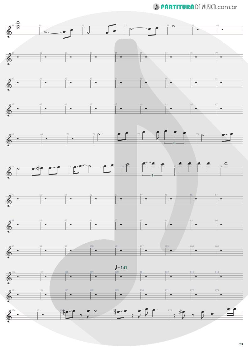 Partitura de musica de Guitarra Elétrica - Fade To Black | Metallica | Ride the Lightning 1984 - pag 2