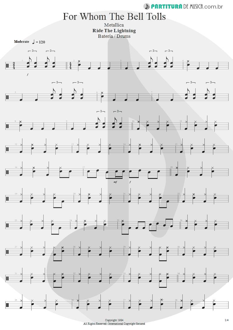 Partitura de musica de Bateria - For Whom The Bell Tolls   Metallica   Ride the Lightning 1984 - pag 1