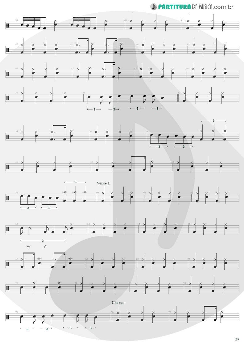 Partitura de musica de Bateria - For Whom The Bell Tolls | Metallica | Ride the Lightning 1984 - pag 2