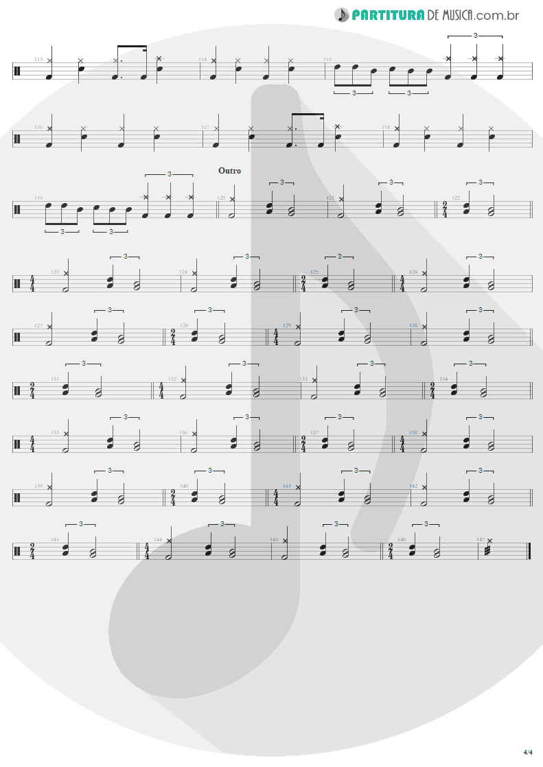 Partitura de musica de Bateria - For Whom The Bell Tolls | Metallica | Ride the Lightning 1984 - pag 4
