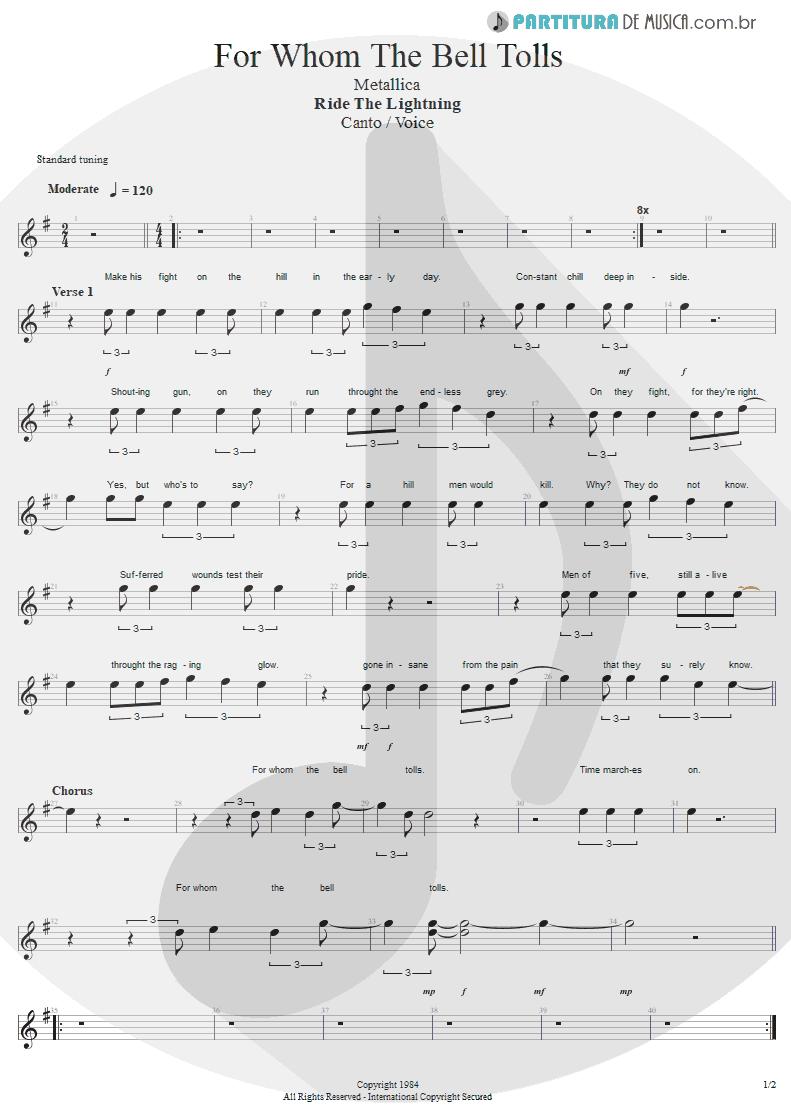 Partitura de musica de Canto - For Whom The Bell Tolls | Metallica | Ride the Lightning 1984 - pag 1