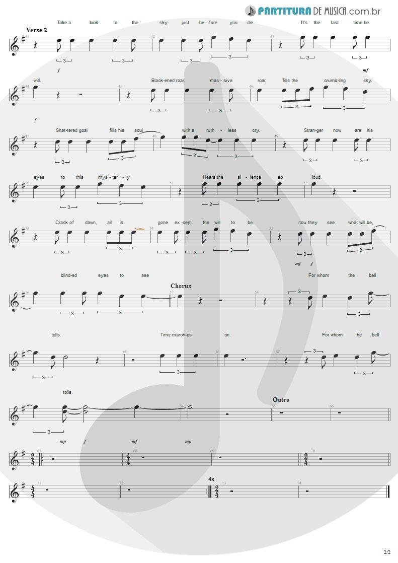 Partitura de musica de Canto - For Whom The Bell Tolls | Metallica | Ride the Lightning 1984 - pag 2