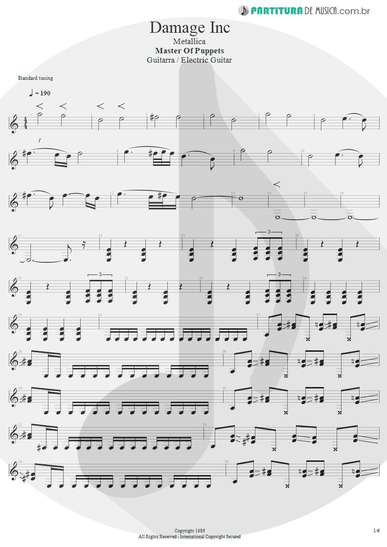 Partitura de musica de Guitarra Elétrica - Damage, Inc. | Metallica | Master of Puppets 1986 - pag 1