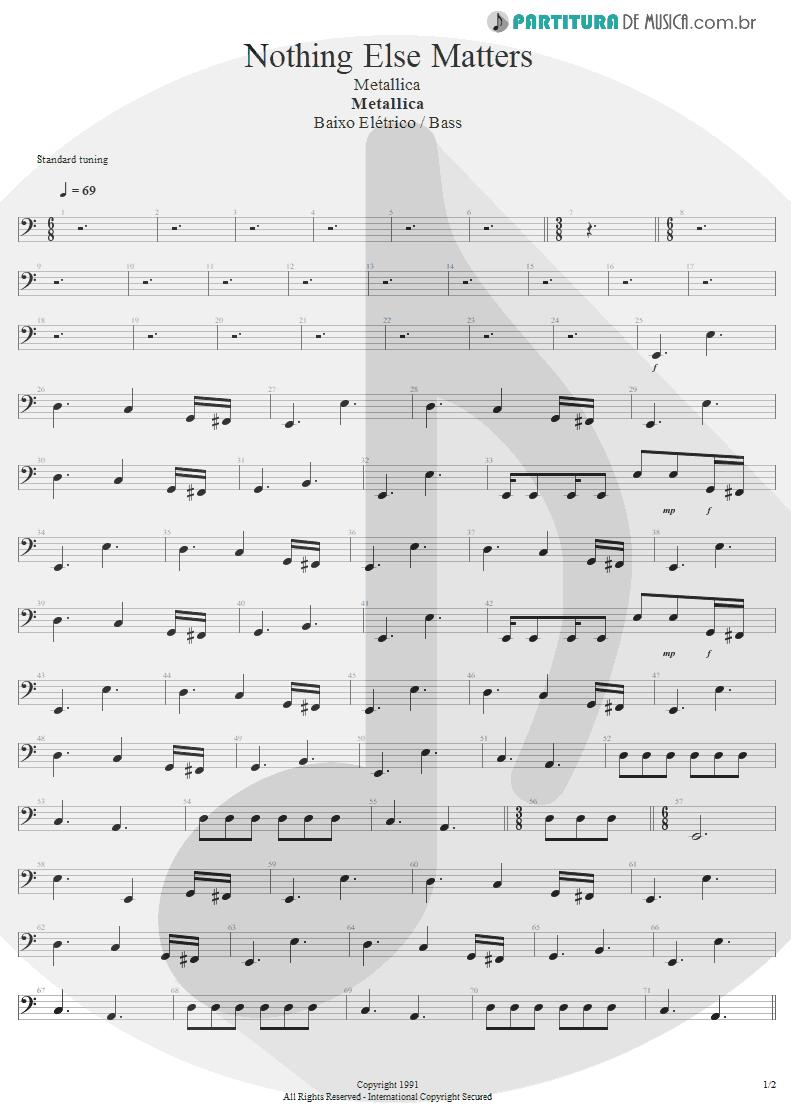 Partitura de musica de Baixo Elétrico - Nothing Else Matters | Metallica | Metallica 1991 - pag 1