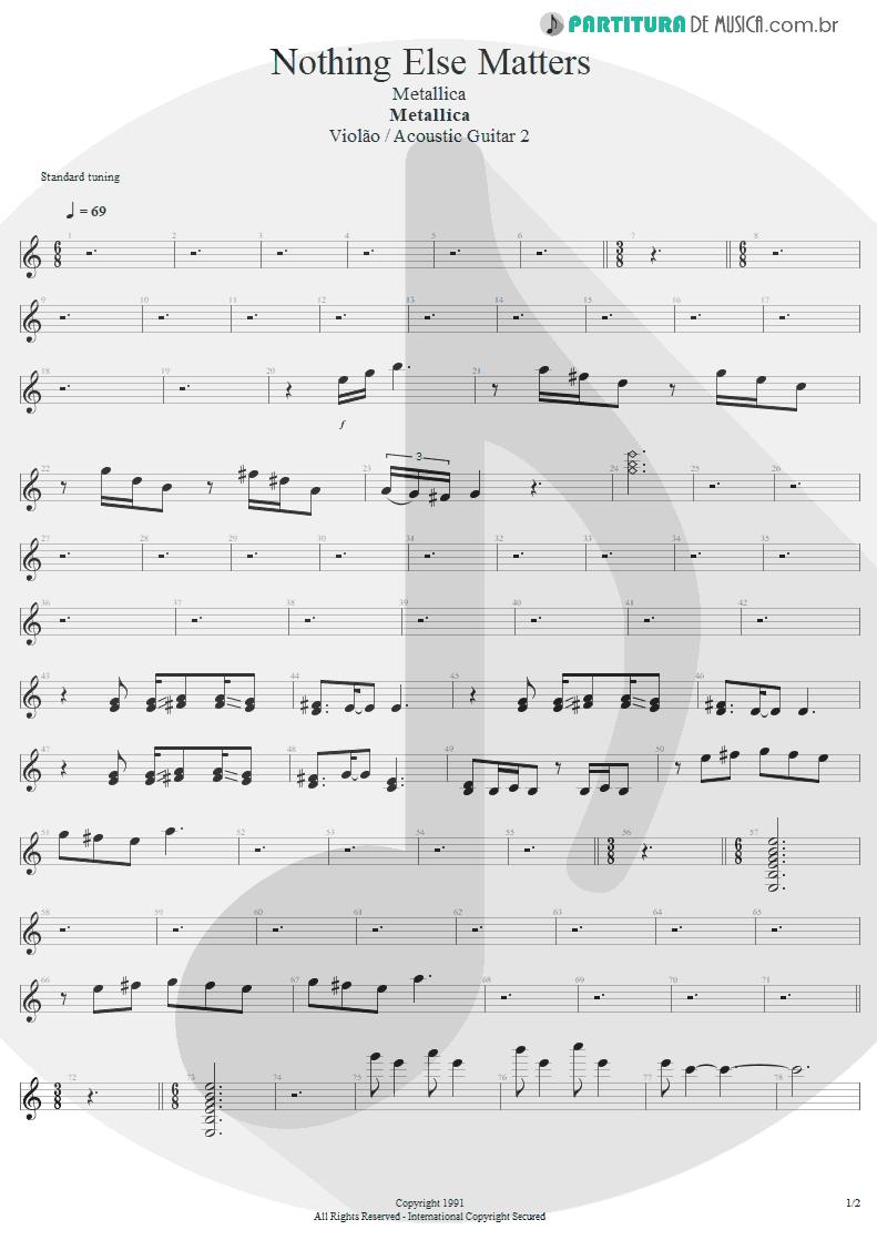 Partitura de musica de Violão - Nothing Else Matters | Metallica | Metallica 1991 - pag 1