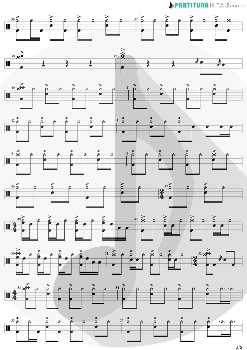 Partitura de musica de Bateria - The Unforgiven | Metallica | Metallica 1991 - pag 3