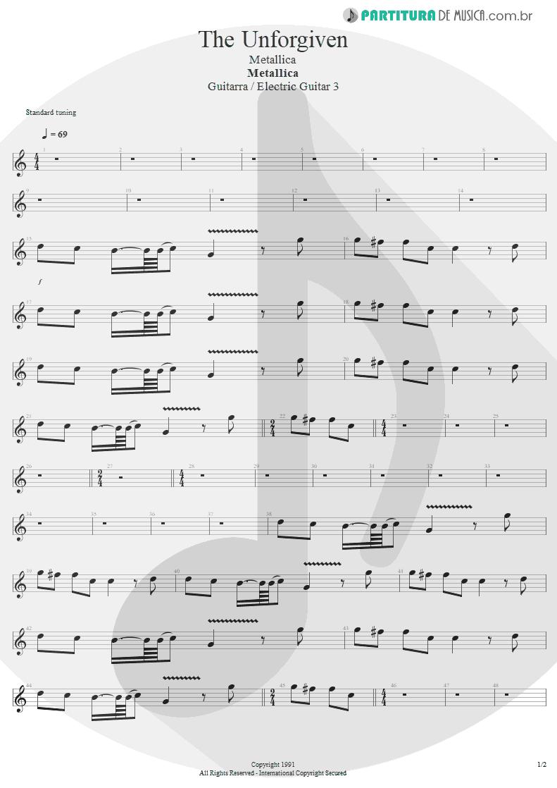 Partitura de musica de Guitarra Elétrica - The Unforgiven | Metallica | Metallica 1991 - pag 1