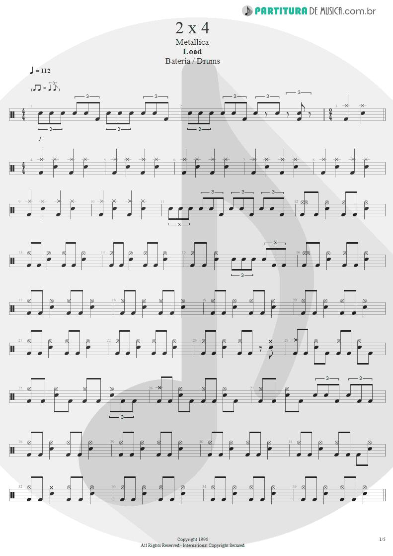 Partitura de musica de Bateria - 2 x 4 | Metallica | Load 1996 - pag 1