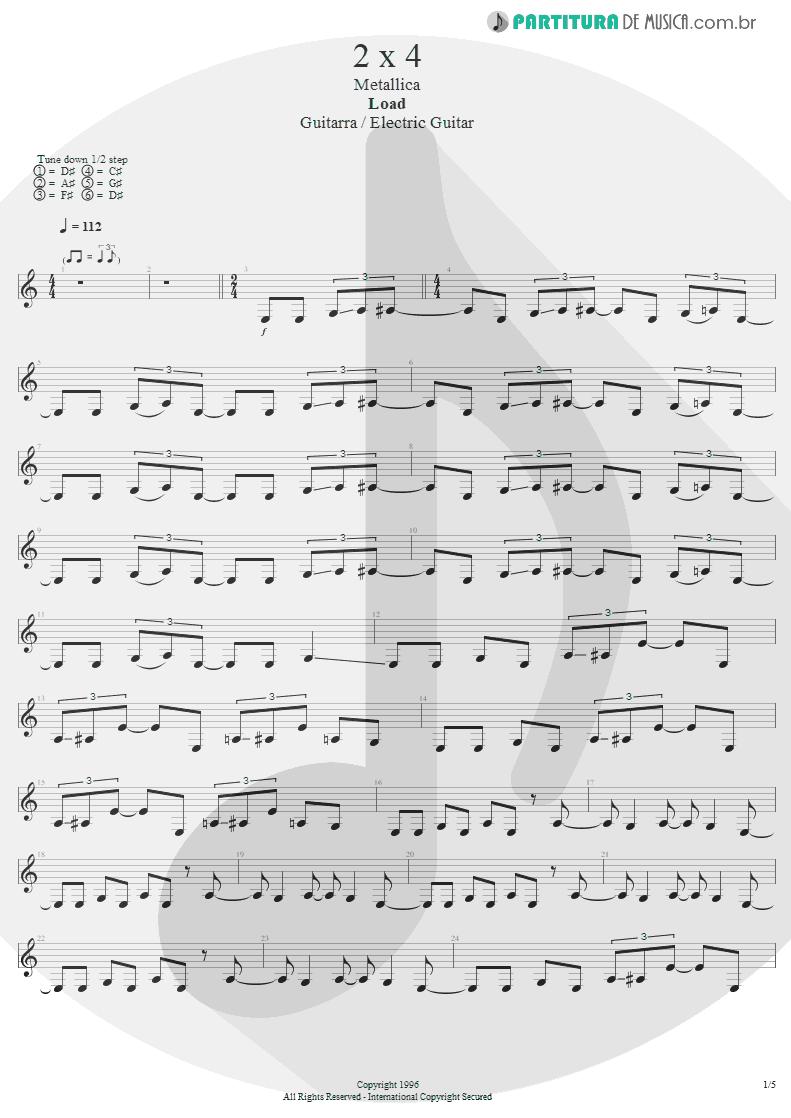 Partitura de musica de Guitarra Elétrica - 2 x 4 | Metallica | Load 1996 - pag 1