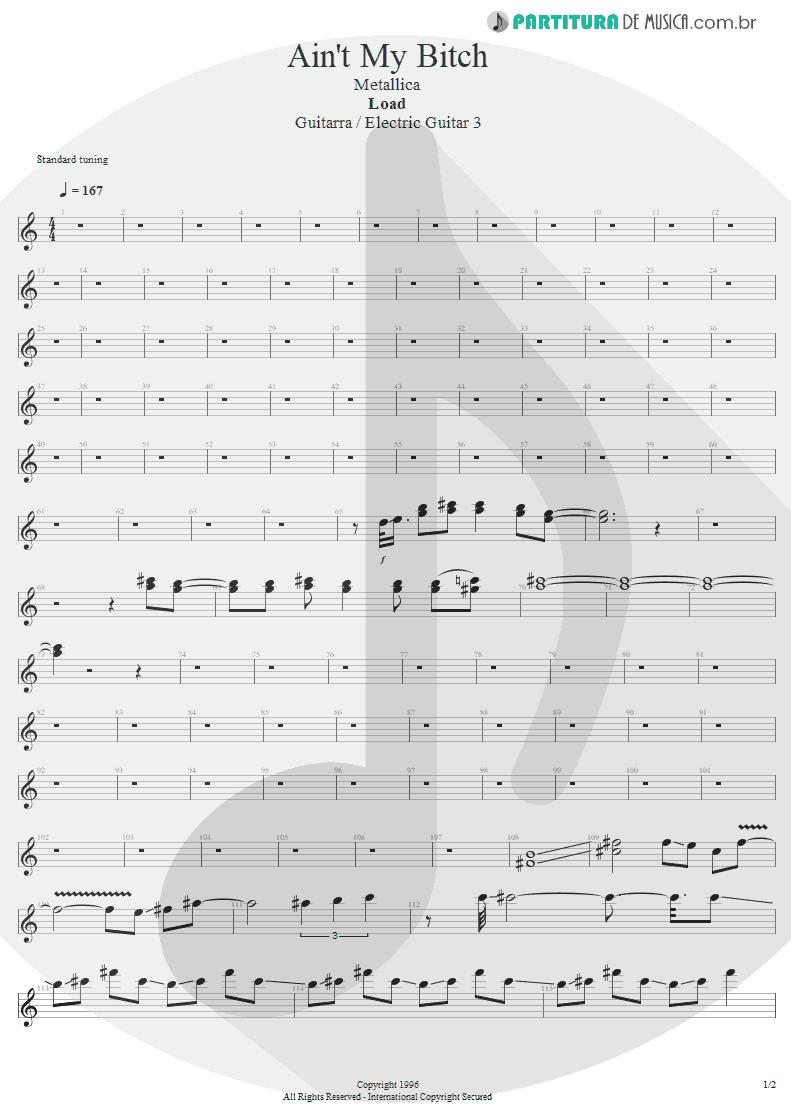 Partitura de musica de Guitarra Elétrica - Ain't My Bitch | Metallica | Load 1996 - pag 1