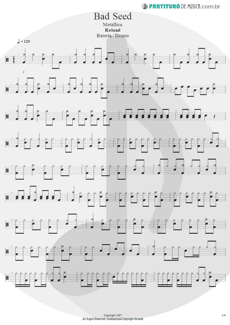Partitura de musica de Bateria - Bad Seed | Metallica | ReLoad 1997 - pag 1