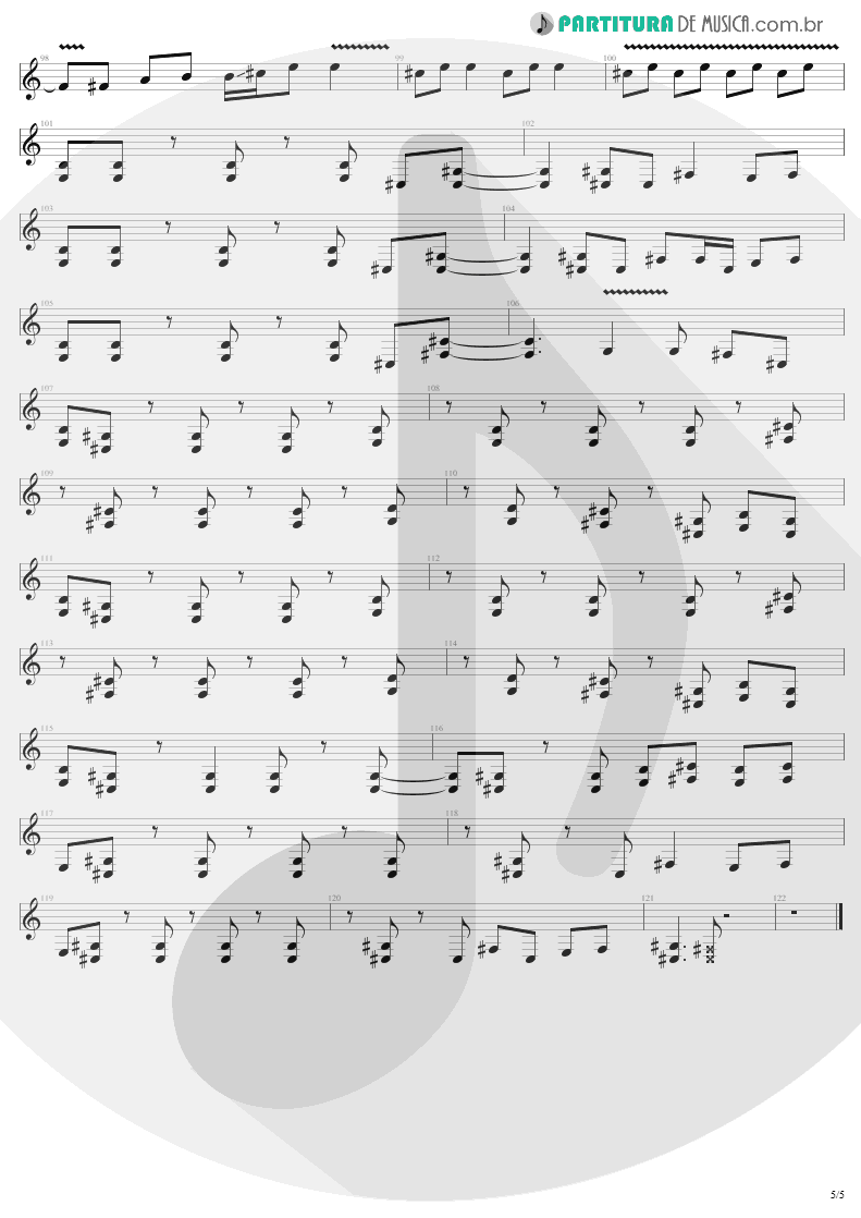 Partitura de musica de Guitarra Elétrica - Bad Seed | Metallica | ReLoad 1997 - pag 5