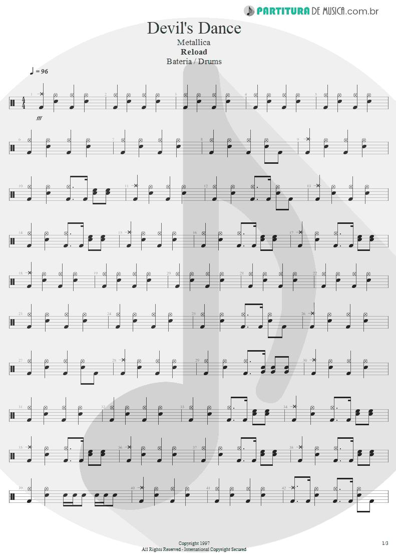 Partitura de musica de Bateria - Devil's Dance | Metallica | ReLoad 1997 - pag 1