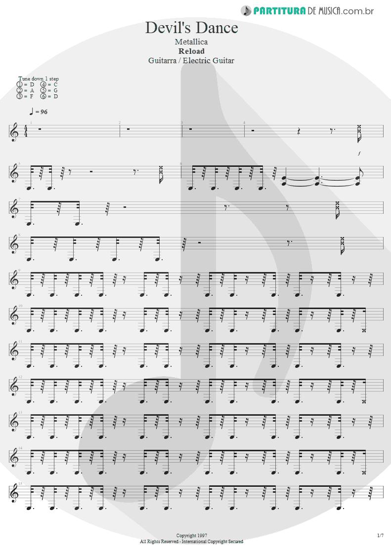 Partitura de musica de Guitarra Elétrica - Devil's Dance | Metallica | ReLoad 1997 - pag 1