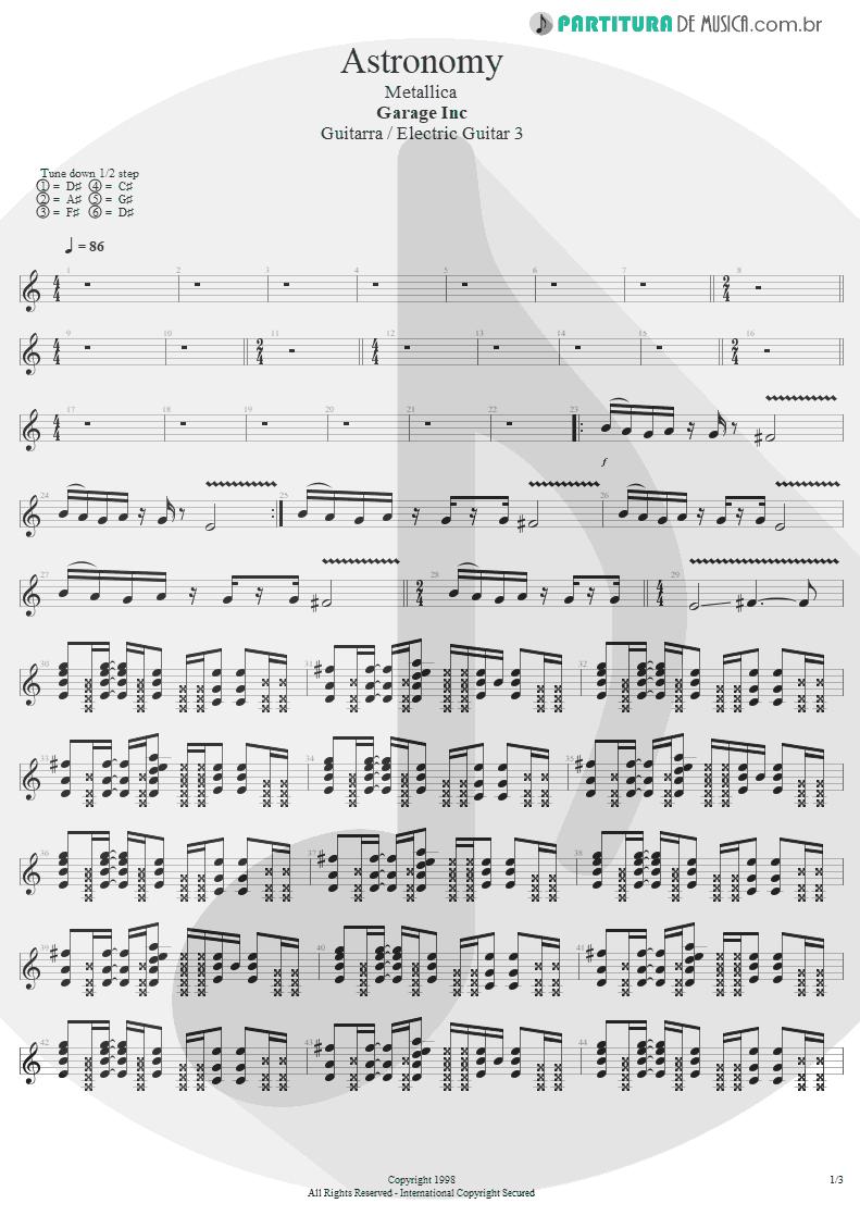 Partitura de musica de Guitarra Elétrica - Astronomy | Metallica | Garage Inc. 1998 - pag 1