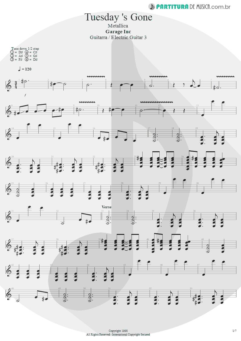 Partitura de musica de Guitarra Elétrica - Tuesday's Gone | Metallica | Garage Inc. 1998 - pag 1