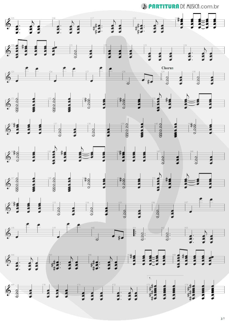 Partitura de musica de Guitarra Elétrica - Tuesday's Gone | Metallica | Garage Inc. 1998 - pag 3