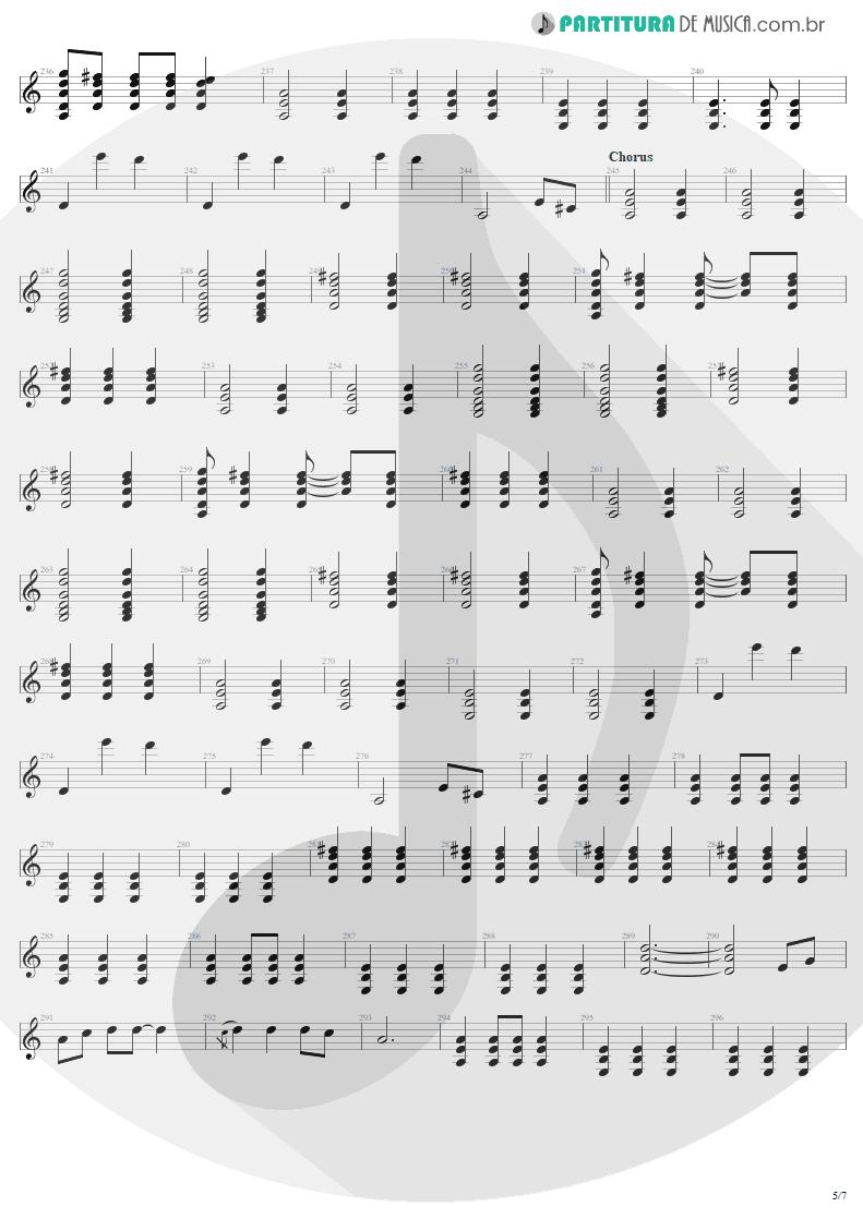 Partitura de musica de Guitarra Elétrica - Tuesday's Gone | Metallica | Garage Inc. 1998 - pag 5