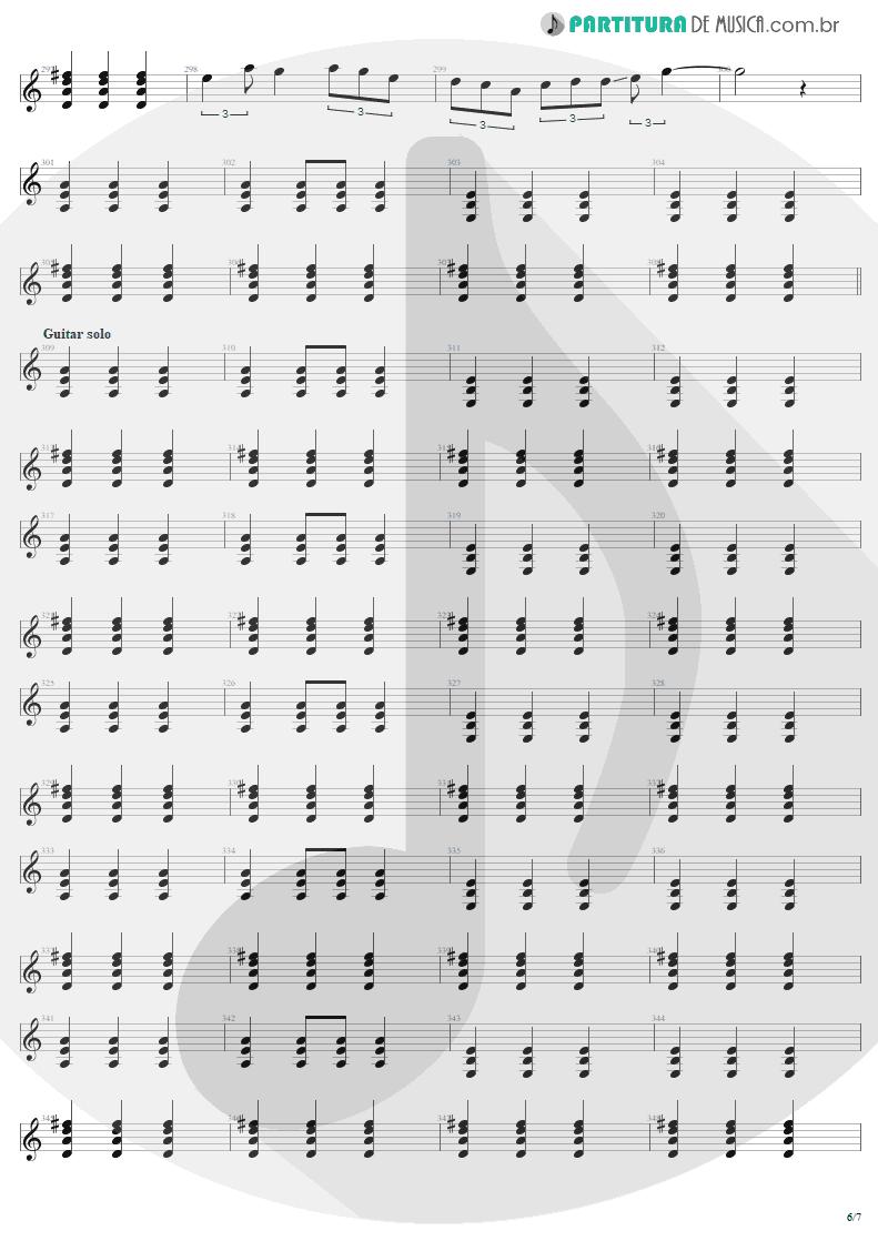 Partitura de musica de Guitarra Elétrica - Tuesday's Gone | Metallica | Garage Inc. 1998 - pag 6