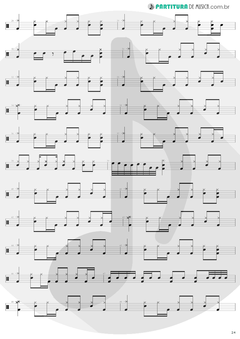 Partitura de musica de Bateria - Turn The Page | Metallica | Garage Inc. 1998 - pag 2