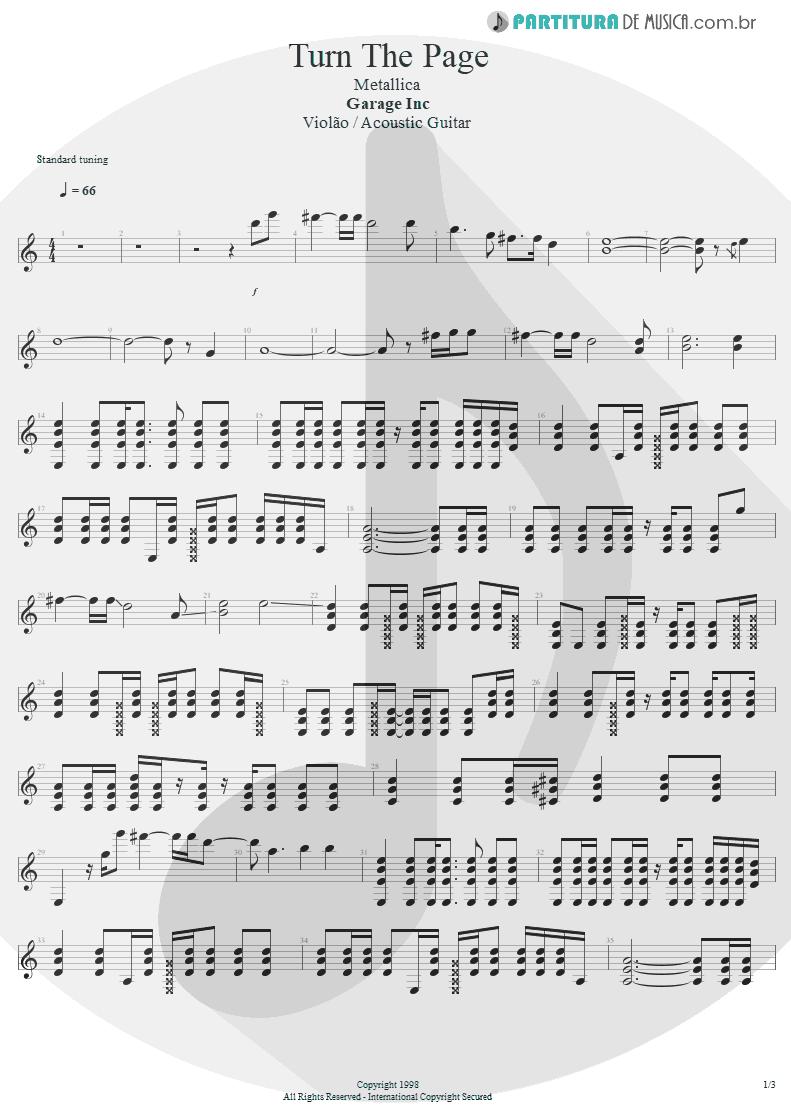 Partitura de musica de Violão - Turn The Page | Metallica | Garage Inc. 1998 - pag 1