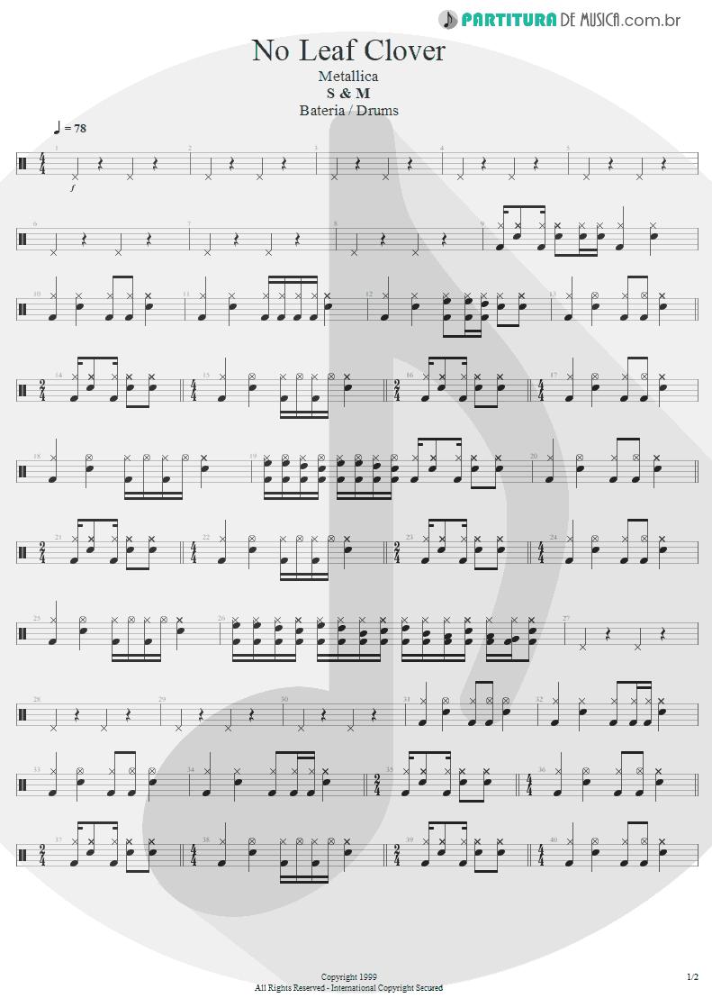 Partitura de musica de Bateria - No Leaf Clover | Metallica | S & M 1999 - pag 1