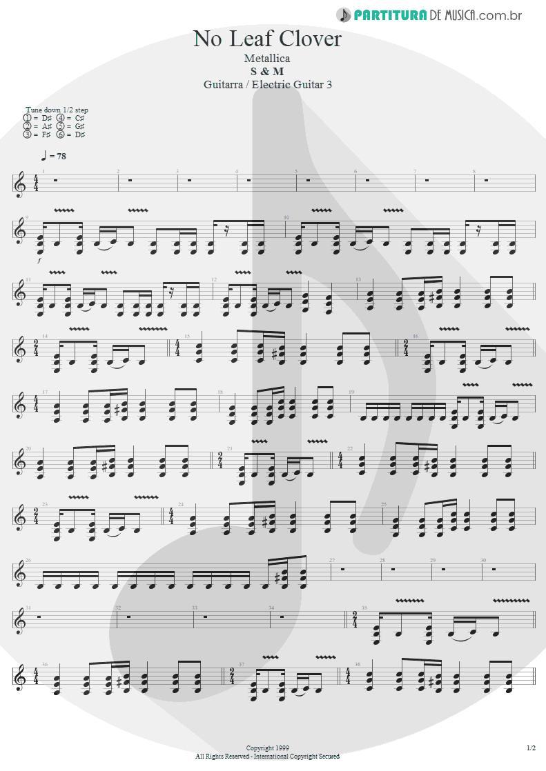 Partitura de musica de Guitarra Elétrica - No Leaf Clover | Metallica | S & M 1999 - pag 1