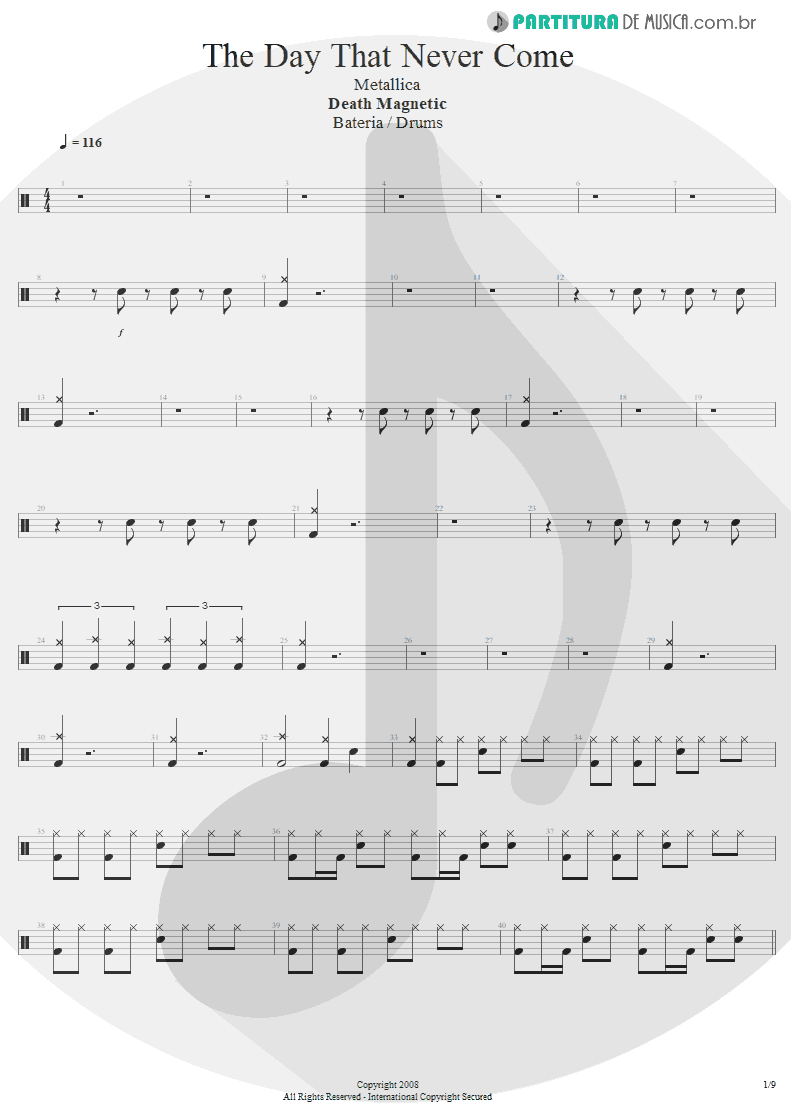Partitura de musica de Bateria - The Day That Never Come | Metallica | Death Magnetic 2008 - pag 1