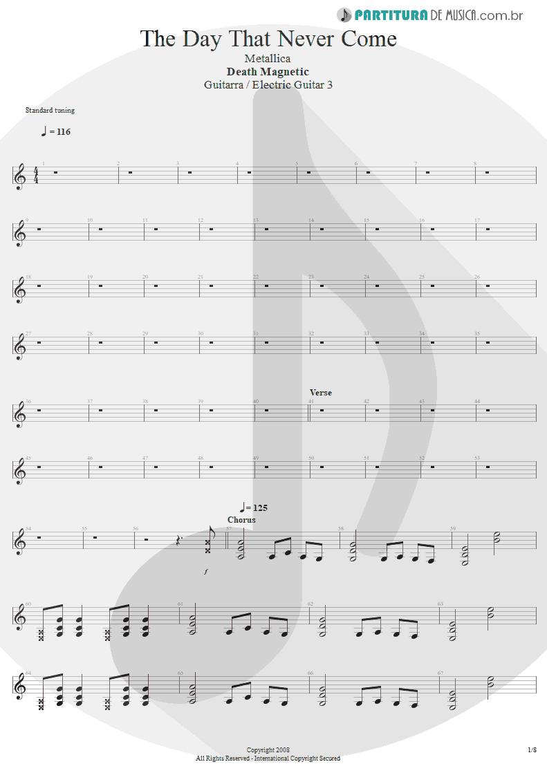 Partitura de musica de Guitarra Elétrica - The Day That Never Come | Metallica | Death Magnetic 2008 - pag 1