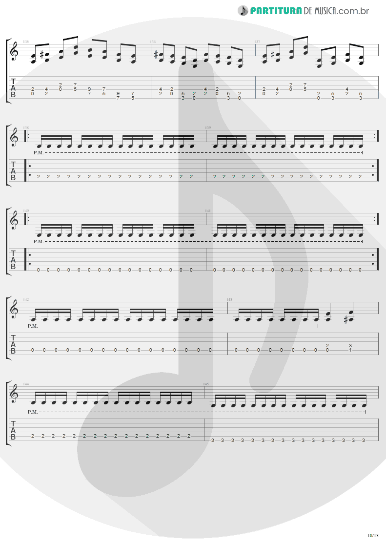 Tablatura + Partitura de musica de Guitarra Elétrica - The Day That Never Come | Metallica | Death Magnetic 2008 - pag 10