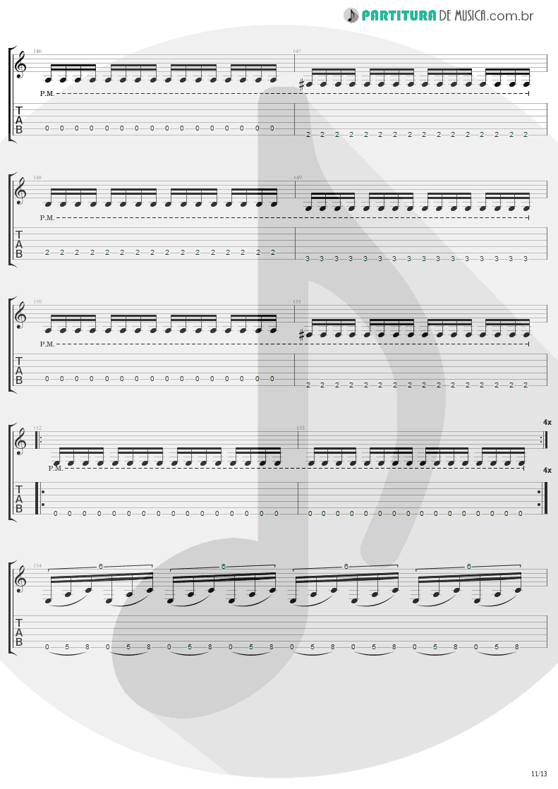 Tablatura + Partitura de musica de Guitarra Elétrica - The Day That Never Come | Metallica | Death Magnetic 2008 - pag 11